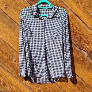 CAbi #736 Button Down Mesh Plaid Shirt